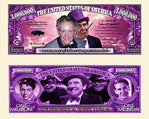 Anime Source 1960 Batman Television Series Actor Penguin Oliver Burgess Meredith Commemorative Novelty Million Bill with Semi Rigid Protector