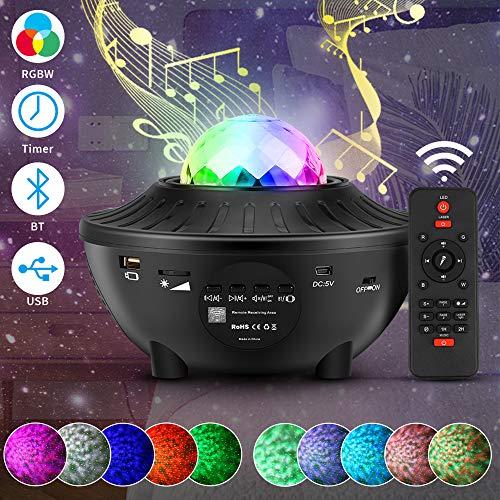 Proyector Lámpara Bluetooth Proyector Estrellas USB,21 Modos LED Cambiar Color Reproductor de Música con Bluetooth y Control Remoto Temporizador Bebé Proyector Lámpara Lampara Proyector Océano Ola