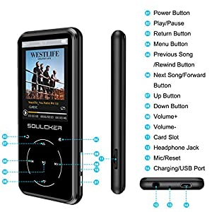 "MP3 Player, 16GB MP3 Player with Bluetooth 4.0, Portable HiFi Lossless Sound MP3 Music Player with FM Radio Voice Recorder E-Book 2.4"" Screen, Support up to 128GB (Headphone, Sport Armband Included)"