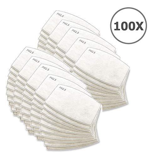 TBOC Einweg Maske Filter - [Pack 100 Einheiten] Paket mit Austauschbare Filter 5 Gesichtsschutz Schichten Weiches und Schwitzfähig Material für Erwachsene Kinder Schutz Schädlicher Substanzen Staub