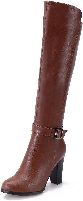 AdeeSu Womens Solid High-Heel Smooth Leather Urethane Boots SXC03683