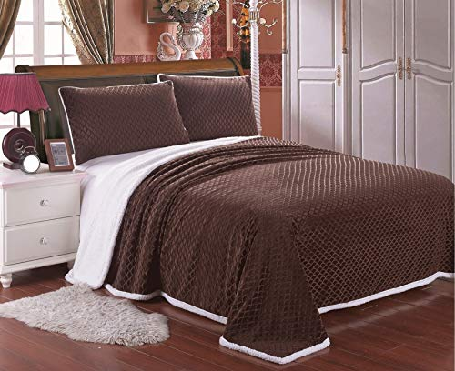 Elegant Comfort Mikro-Sherpa Ultra Plüsch Warm Heavy Weight Wave Muster Decke King/Cal King Size Chocolate Brown