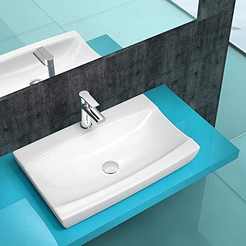 BTH: 62x40x12 cm Aufsatzwaschbecken Hängewaschbecken München6105z aus Keramik | Waschbecken Waschtisch Waschplatz Handwaschbecken