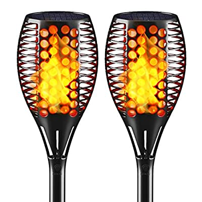 Fitybow Solar Lights Waterproof Flickering Flame Solar Torch Lights Dancing Flame Lights Landscape Decoration Lighting Dusk to Dawn Auto On/Off Security Path Lights for Garden Patio Driveway