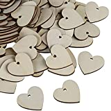 Kesote 200 Rebanadas de Madera en Forma de Corazón con un Agujero Rebanadas de Madera de 40 mm para Decoración de Hogar, Boda, Material de Bricolaje