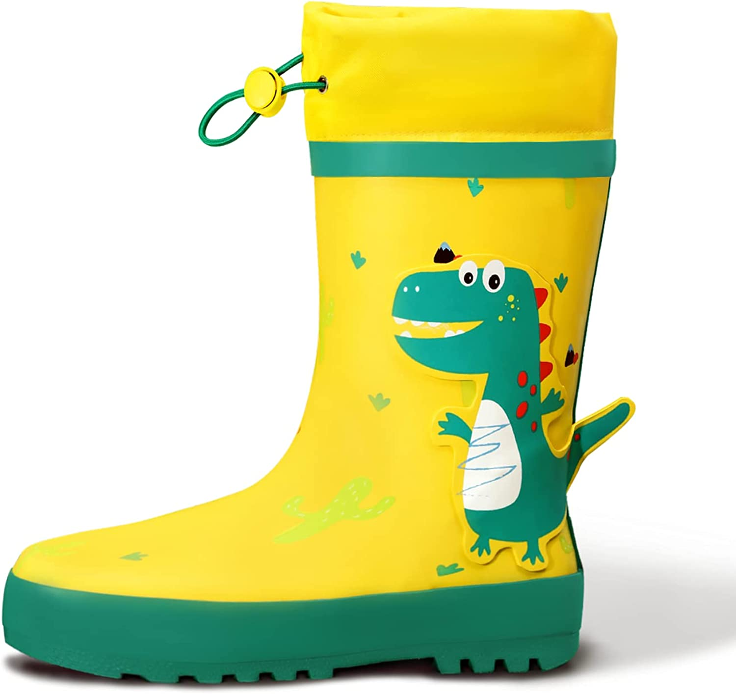 Gparllord Printed Waterproof Kids Rubber Rain Boots,Easy Pull On Toddler Rain Shoes