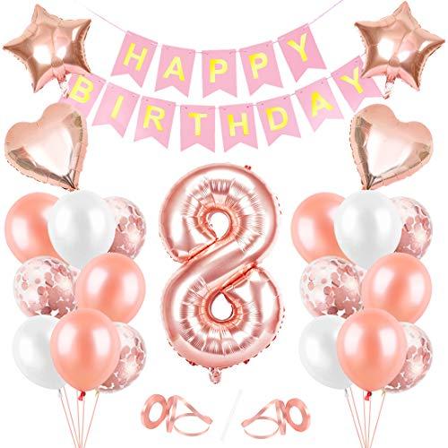 Globos de Cumpleaños 8 año, 8 Oro RosaDecoraciones, Pancarta de Feliz Cumpleaños, Decoración de Cumpleaños para 8 Niña, Globos de Confeti y Aluminio Oro Rosa, Fiesta Regalos para Niña y Mujere