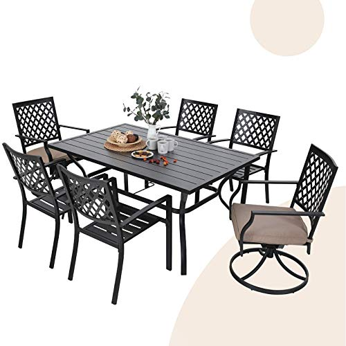 "MFSTUDIO 7-Piece Metal Outdoor Patio Dining Set with 6 Armrest Chairs and 1 Steel Rectangular Table with 1.57"" Umbrella Hole, L60 x W38 x H28 Table, 4 Backyard Garden Chairs, 2 Swivel Chairs, Black"