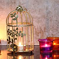 Webelkart Gold Colour Metal Iron Bird Cage Tea Light Holder with Flower Vine