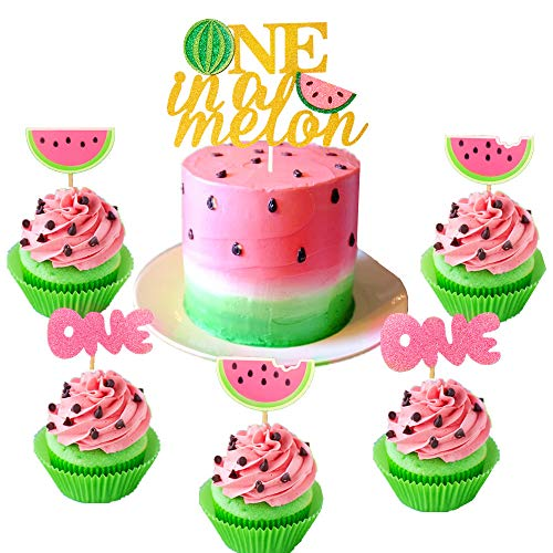 JeVenis Set of 25 Watermelon Cupcake Topper Watermelon One Cupcake Topper Baby Girl First Birthday Cupcake Topper