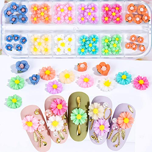60pcs Sunflower Diasy Nail Charm Flower Decoration Design 3D Nail Art Decal Applique Supplies 12 Colors Summer Diasy Colorful Designs Resin Nail Art Jewelry Manicure Accessories for Women