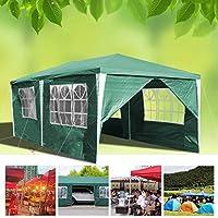 huigou Carpas 3x6M cenadores Jardin Carpa Impermeables Aire Libre Gazebo Incl. 6 Lados Removibles marquesina (Verde)