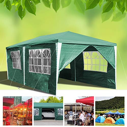 wolketon Pavillon Wasserdicht Gartenpavillon mit Seitenwände Polyethylen Bierzelt Tür mit Reisverschluss für Garten Party Hochzeit (3x6M, Grün)