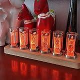 PAKASEPT Reloj Digital LED,Tube Clock, Despertador Digital, Reloj Vintage, 6 dígitos con detección de luz Interior, USB Tipo C Alimentado, Regalos para niños maridos (De un Solo Color)