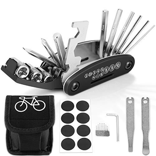 YISSVIC Fahrrad-Multitool, 16-in-1 Fahrrad Reparatur Set Fahrrad Multifunktionswerkzeug Reifenheber Selbstklebendes Fahrradflicken usw. Verpackung MEHRWEG