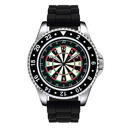 Timest - Tablero de Dardos - Unisex Reloj con Correa de Silicona Negro Analógico Cuarzo SE1336SB