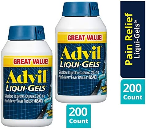 Advil Liqui-Gels Pain Reliever and Fever Reducer, Solubilized Ibuprofen 200mg, 160 Count, Liquid Fast Pain Relief