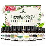 Aceites Esenciales 12×10 ml, Kit Aceites Esenciales para Humidificador, Aceites Esenciales Puros 100% Natural, Aromaterapia Aceite Aromático para Masajes, SPA, Baño, Regalo