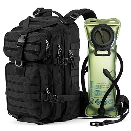 Gelindo Tactical backpack with 2.5 liter Hydration Bladder, Outdoor Gear for 1-3 Days Assault Rucksack Backpacks for Hiking Camping Trekking Cycling School, Black