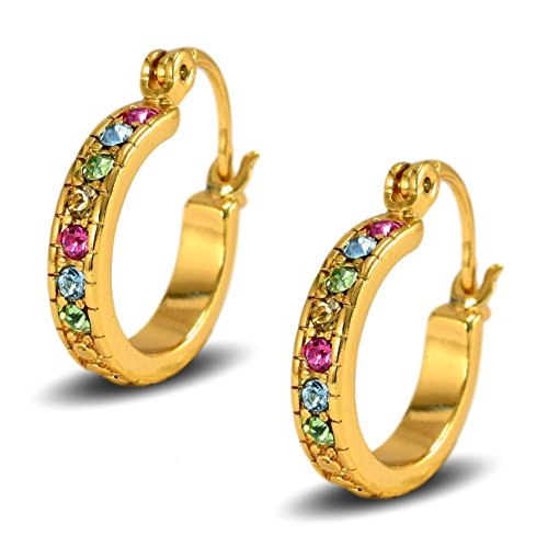 Blue Diamond Club - 18ct Gold Filled Womens Creole Hoop Earrings 20mm with Multi Colour Crystals