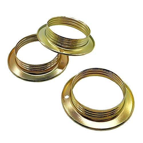 3 Stück Schraubring E27 Metall Messing für Lampen-Fassung Ring Höhe 13mm für Lampen-Schirm oder Glas-Elemente