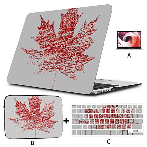 Macbook Computer Case Colorful Red Vintage Maple Leaves Laptop Protector Case Hard Shell Mac Air 11'/13' Pro 13'/15'/16' With Notebook Sleeve Bag For Macbook 2008-2020 Version