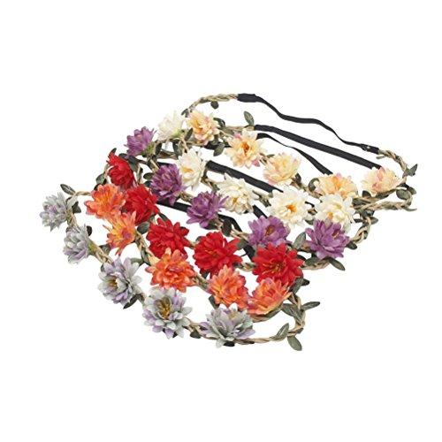 FRCOLOR 5pcs Fleur Couronne Bandeau Élastique Floral Couronne Bande de Cheveux pour les Femmes (Couleur Mixte)