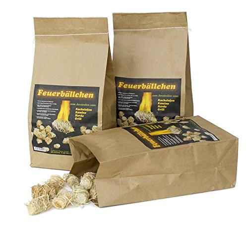 RaiffeisenWaren Kaminanzünder, Feueranzünder, Feuerbällchen (Anzünder ökologisch, aus Naturprodukten - Wachs, Naturholz; Nässe unempfindlich; Brenndauer ca. 10 min) 10 kg