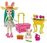 Enchantimals Coffret le jardin de Fluffy Lapin et sa figurine animale Mop, avec accessoires de jardinage, jouet enfant, GJX33
