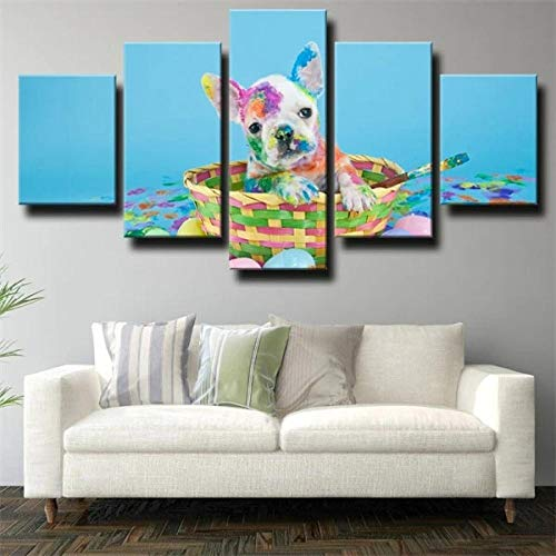 Modren Abstract 5 Pieces Wall Art Painting Canvas Decor creative Gift COLOR GRAFFITI FRENCH BULLDOG DOG Stretched and Framed Posters and Prints Artwork Ready to Hang for Home Decorations Wall Artwork