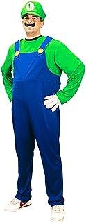 Luigi Mens Super Mario Brothers Fancy Dress Up Party Costume + Hat + Moustache