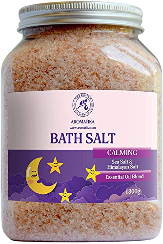 Calming Bath Salts 1300g - 1.3 kg - w/Sandalwood & Lavender & Bergamot Essential Oils - Best for Bath - Natural Bath Sea Salts - Good Sleep - Relaxing - Body Care - Beauty - Aromatherapy