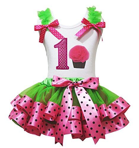 Anniversaire 1st pour homme Vert Rose Pois Little Dress Up bébé fille Tenue Ensemble 1–8Y - - 6 ans