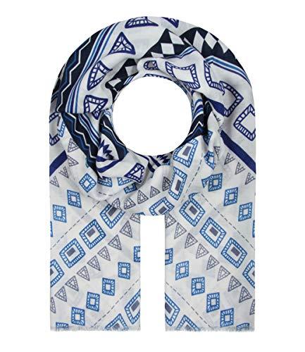 Majea Schal Damen Tuch Kopftuch Halstuch Schals und Tücher mit Muster Stola (blau 17)