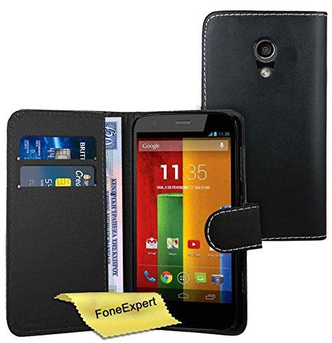 FoneExpert® Wallet Hülle Flip Cover Hüllen Etui Ledertasche Lederhülle Premium Schutzhülle für Motorola Moto G 2. Generation + Bildschirmschutzfolie (Schwarz)