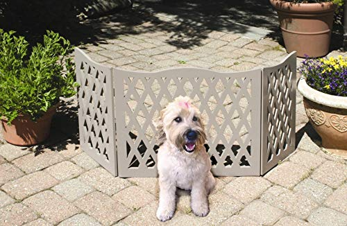 KOVOT Wood Freestanding Foldable Adjustable 3Section Pet Gate with Grey Curve Design | Measures 19quotH amp Extends to 47quotL Dog