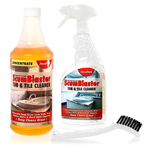 ForceField ScumBlaster: Soap Scum Remover, Tile and Grout Cleaner, Hard Water Stains, Mildew and Rust, Industrial Strength