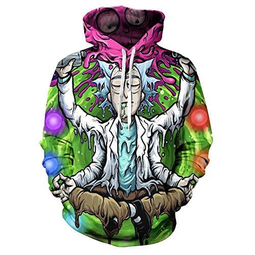 Sudadera con capucha de los hombres Rick Morty Moda Casual Divertido Impresión 3D Hip-Hop Casual Ropa
