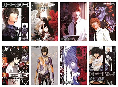 Death Note Poster, japanisches Anime-Poster, Kunstdrucke für Zuhause, Wanddekoration, Set mit 8 Stück, 29,2 x 41,9 cm