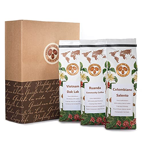 EXPLORE THE WORLD COFFEE Kaffeebohnen Geschenkset mit Geschenkverpackung - 3 x 500 Gramm geröstete Kaffee Bohnen - Kolumbien, Ruanda, Vietnam Länderkaffee - Kaffee Set Geschenk