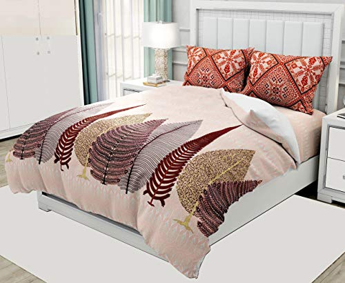 PURE COMFORT 100% Glace Cotton Made in India Super King Size Double Bedsheet with 2 Pillow Covers