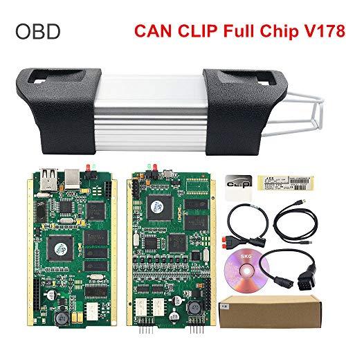 ZLMFBMStomsHan CAN Clip für Renault Diagnostic Tool Mehrsprachig Supply V178 Version Software,Auto OBD II Diagnose Scanner, Automatischer Digiprog-Programmierer FüR Die Main Unit Vieler Autos