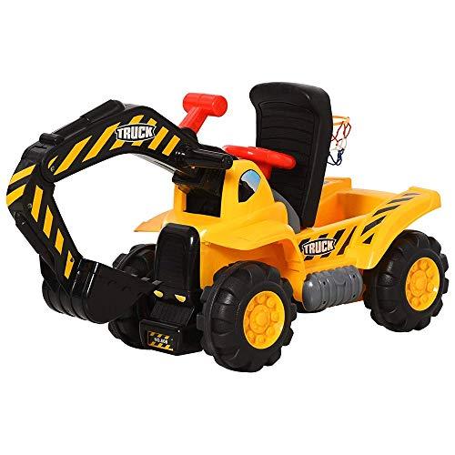 Zeyujie Excavadoras de equitación, excavadoras con almacenamiento, redes de baloncesto, vehículos de dirección sin ruedas eléctricas, juguetes de camiones, deslizantes, excavadoras para niños eléctric