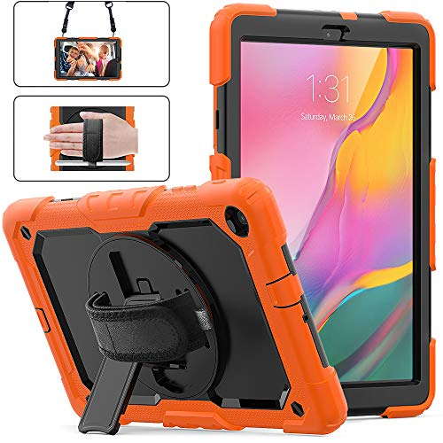 Galaxy Tab A 10.1 2019 Case with Pencil Holder, Herize [Screen Protector] [360 Stand] [Attachable Shoulder Strap] [Adjustable Hand Strap] Rugged Case for Samsung Tab A 10.1 SM-T510/T515 Tablet Orange