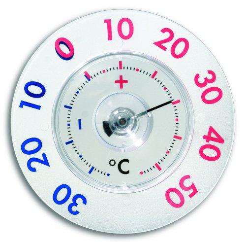 TFA Dostmann Twatcher XL analoges Fensterthermometer, leichte Montage mit Saugnapf, zweifarbiger Skala, wetterfest