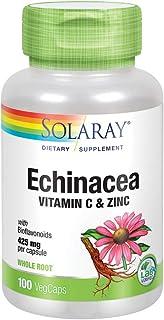 Solaray Echinacea w/ Vitamin C & Zinc 850mg - Immune System Support - W/ Bioflavonoids- Non-GMO - 100 VegCaps, 50 Serv
