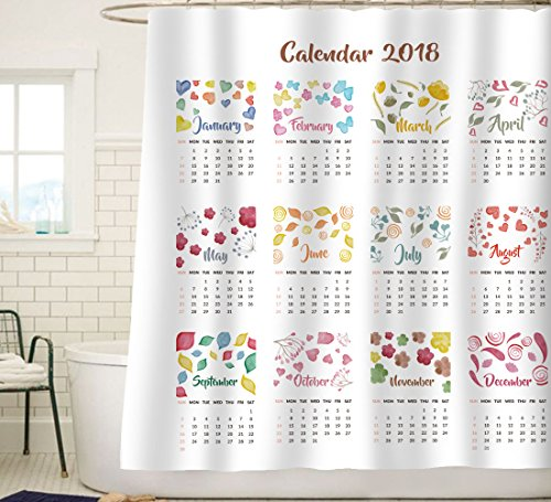 Sunlit Holiday Presents Watercolor Flowers Calendar 2018 New Year Christmas Shower Curtain Water Repellent Fabric White Print Wall Calendar Bedroom Decor
