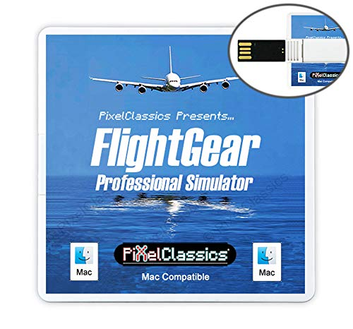 FlightGear Flight Simulator 2020 USB Flight Sim Plane & Helicopter Professional Simulator Including 600+ Aircraft & 20,000 Real World Airports Compatible with Apple macOS & Mac OS X