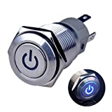 Ulincos Latching Push Button Switch U16F5 1NO1NC SPDT ON/OFF Silver Stainless Steel Shell with Blue Power Symbol LED Suitable for 16mm 5/8' Mounting Hole (Blue)