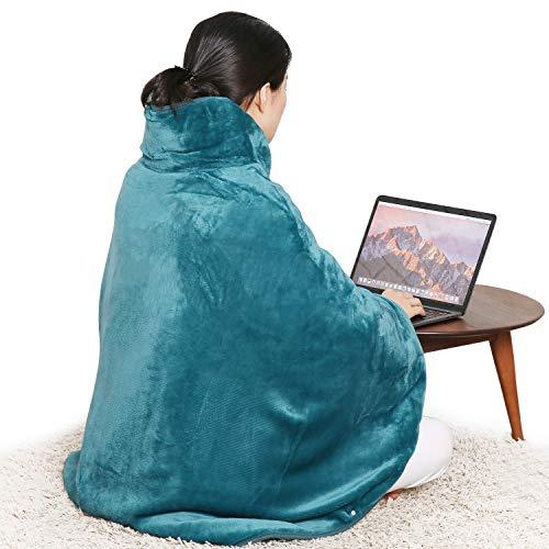 Wärme-Cape Heizkissen Heizdecke Elektrisch mit Abschaltautomatik für Rücken Schulter Nacken, Wärmekissen mit 6 Temperaturstufen Flanell-Material-grün